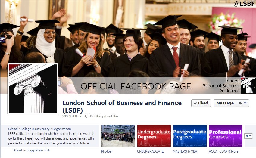 With over 200,000 likes, LSBF is the most followed business school in the UK.