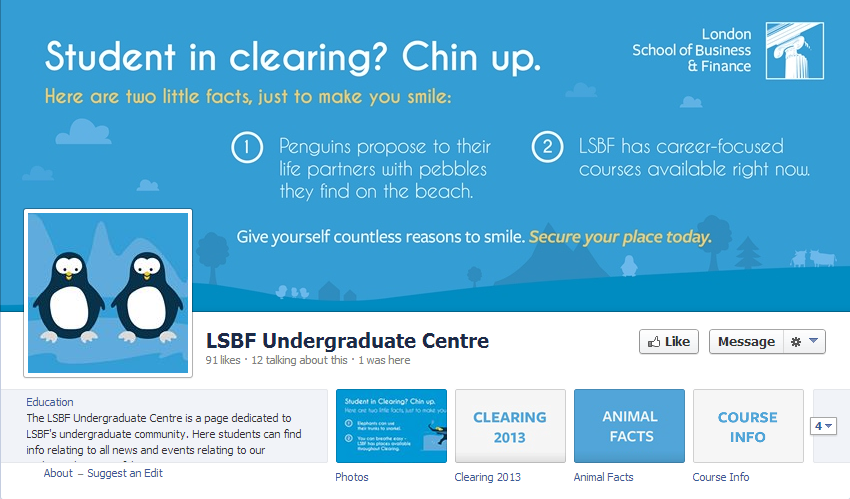 Students can apply to LSBF Clearing directly through Facebook.